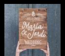 cartel de madera con mensaje personalizado welcome wedding para bodas rústicas y vintage