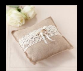 cojín arpillería para llevar los anillos de los novios complemeto para bodas vintage y campestres