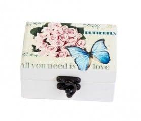 Joyero vintage butterfly azul como detalle de boda para las mujeres invitadas