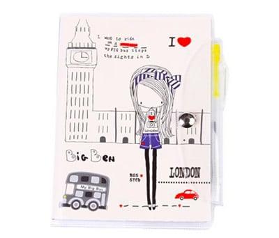 Libreta de notas de pvc con bolígrafo niñas en ciudades ideal como detalle de comunión modelo big ben