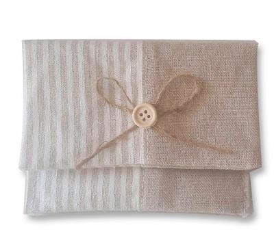 Portatodo yute rayas ideal como complemento de tu detalle para tu boda