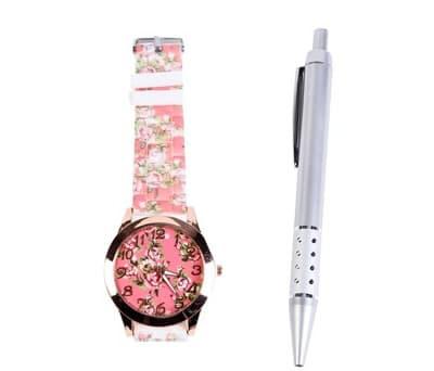 Reloj floral en tonos rosas en caja de regalo con bolígrafo ideal como detalle para mujeres e invitadas a bodas, comuniones y bautizos