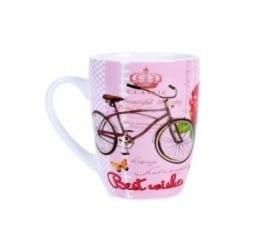 Taza mujer vintage en color rosa con bicicleta original para regalar a las mujeres del evento