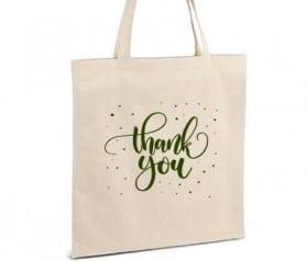 Bolsa personalizada con la palabra Thank you como regalo para los invitados