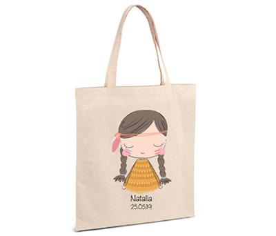 bolsa de asa personalizada con india y posibilidad de personalizar para los detalles de comunión