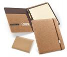 Portafolios de corcho con cierre de goma y bloc de notas con hojas lisas vista interior