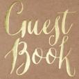 Libro de firmas para tu boda de estilo kraft con las palabras guest book en dorado