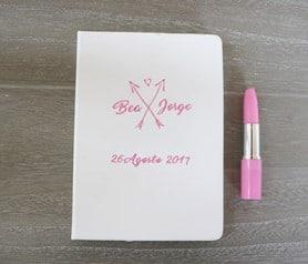 Libreta de notas tipo moleskine personalizadas con tu logo, fecha o nombres para los invitdos de la boda