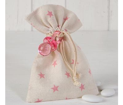 Bolsa estrellas con chupete y peladillas como recuerdo de bautizo para los invitados