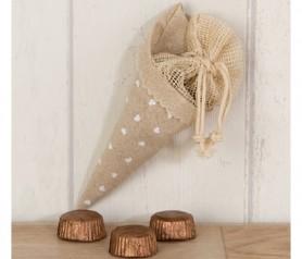 CONO-BOLSA CORAZONES CON BOMBONES como obsequio para tus invitados de boda, comunión y bautizo