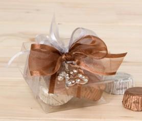 Colgante strass 25 aniversario con bombones como detalle para bodas de plata