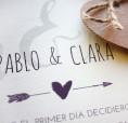 Invitación de boda grande con diseño vintage