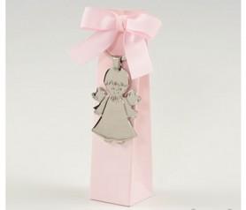 Llavero niño angel en caja rosa con peladillas como detalle de bautizo o comunión