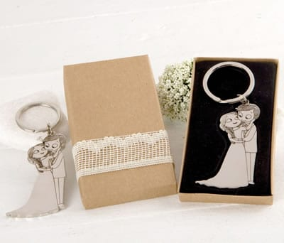 Llavero novios caricia en caja kraft de regalo ideal para los invitados de la boda