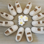 Merceditas con topitos blancos detalle de bautizo.fw