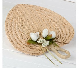 PAIPAY HOJA PALMA ADORNADO CON PORTATARJETAS para las invitadas de tu boda