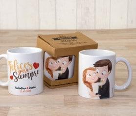 Tazas personalizadas imagen novios en caja de regalo como detalle para los invitados de vuestra boda