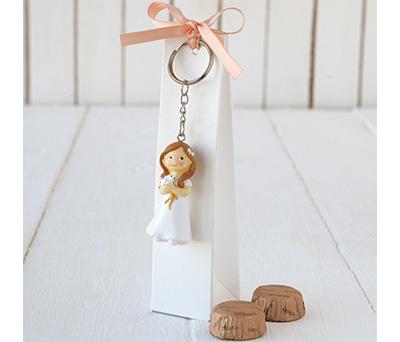 Estuche con llavero niña comunión con paloma relleno con 2 bombones como recuerdo para invitados de primera comunión