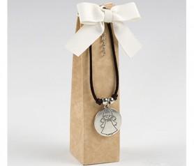 Estuche con pulsera medalla ángel de la guarda con 2 torinos como detalle de invitados de comunión