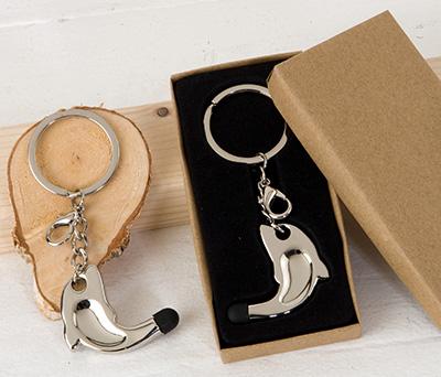 Llavero colgante delfín con puntero táctil en caja de regalo como detalle para invitados