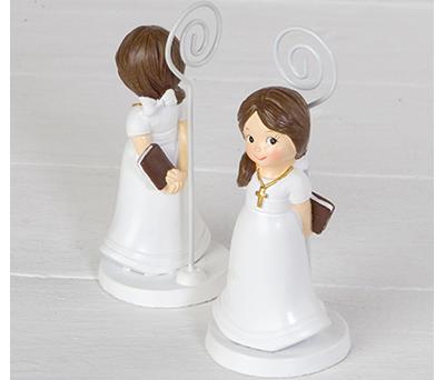 Portafoto de niña de comunión con coleta como recuerdo para invitados de comunión