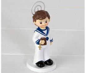 Portafoto niño marinero con biblia recuerdo comunión para invitados
