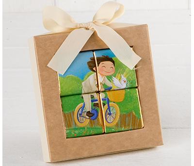 Puzzle de 4 napolitanas niño comunión en bici como detalle para invitados de comunión