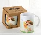 Taza cerámica niña comunión en bici con caja de regalo como detalle de comunión
