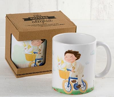 Taza cerámica niño comunión en bici con caja de regalo como detalle de comunión