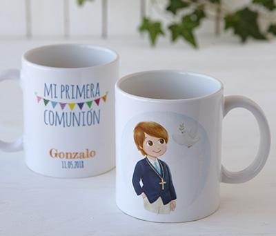 Taza cerámica niño comunión en caja de regalo como Detalle para invitados de comunión