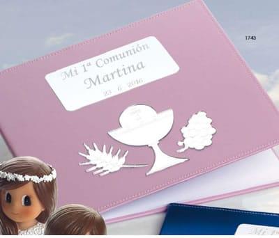Libro de firmas comunión grabado y personalizado en color rosa