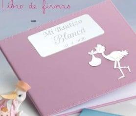 Libro de firmas para bautizo nacimientos de niña color rosa grabado y personalizado