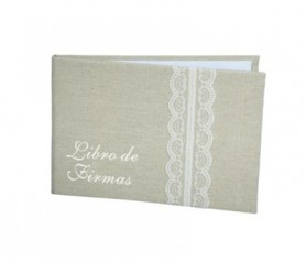 Libro de firmas yute para que los invitados dejen sus recuerdos en tu boda