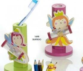 Porta-cepillos madera hada reloj de arena para regalar a los niños invitados a cumpleaños, comuniones, bautizo o bodas