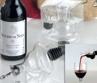 Vertidor-Tapón-Decantador de vino cristal con caja de regalo como obsequio para los invitados de tu boda