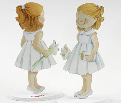 Figura pastel de metal niña con vestido blanco Recuerdo Primera Comunión
