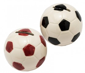 Hucha pelota roja y negra Detalle para invitados Comunión