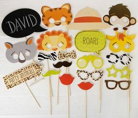 Set de postizos safari de 20 piezas ideal para fiestas infantiles o comuniones