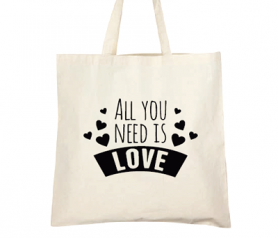 Bolsa de asa larga con la frase all you need is love original y útil detalle de boda para tus invitadas