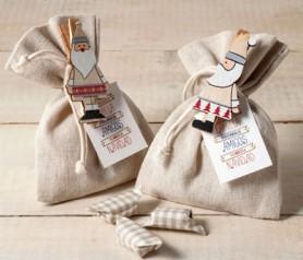 Bolsa de caramelos con pinza de papanoel