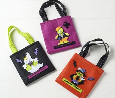 Bolsa de fieltro Halloween para guardar todos los caramelos y chocolatinas de la noche de los muertos como regalo para los niños