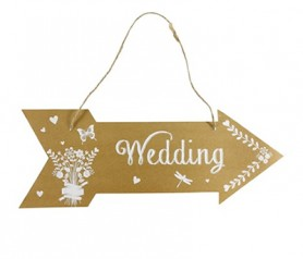 CARTEL FLECHA WEDDING para decorar tu boda