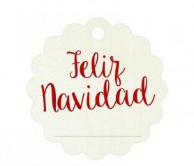 Etiqueta navideña ondas feliz navidad en rojo para completar tu regalo de navidad