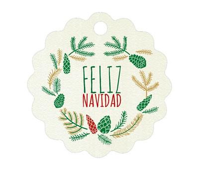 Etiqueta navideña ondas feliz navidad para completar tu regalo de navidad