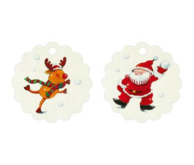 Etiqueta navideña ondas reno y papa noel bolas de nieve para completar tu regalo de navidad