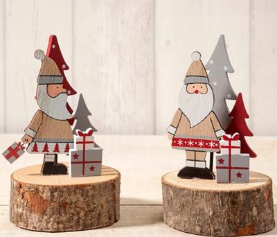 Figura de Papá Noel madera en base tronco para decorar de navidad tu hogar