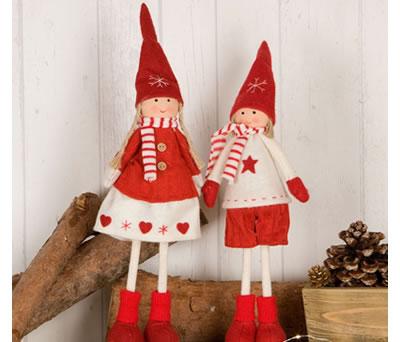 Figura duendes bufanda y gorrito para decorar tu hogar de navidad
