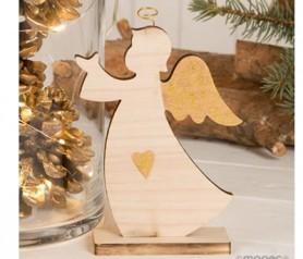 Figura madera ángel con detalles dorados para regalar por navidad o decorar tu hogar