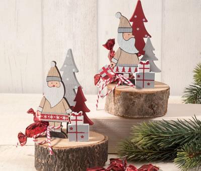 Papanoel madera base tronco como detalle de navidad o decoración navideña