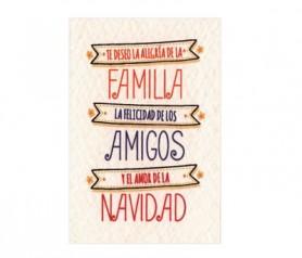 Tarjeta familia, amigos y navidad como complemento de regalo de esta navidad